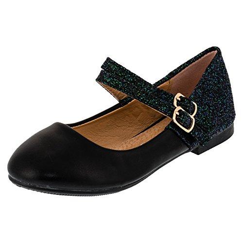 Festliche Mädchen Glitzer Ballerinas Schuhe mit Echt Leder Innensohle M408sw Schwarz 26