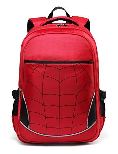 Kids Backpack for Boys Elementary School Bags Durable Kindergarten Bookbags (Red)