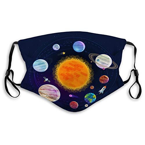 DISGOWONG Reusable Face Shield Sports Mouth Covers Astronomy Space Astrology Concept Solar System Sports Shield