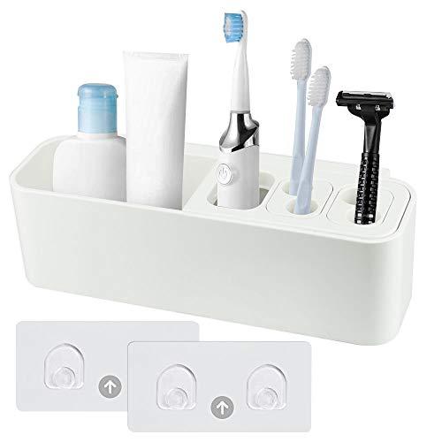 DECARETA Zahnbürstenhalter Elektrische Zahnbürste Halter Weiß Multifunktionaler Zahnbürsten Aufbewahrung Wand Plastik Zahnbürstenhalterung Halterung mit 2 Aufkleber für Elektrisch Zahnbürste Rasierer