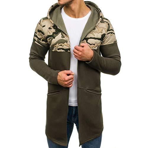 FRAUIT Heren Camouflage lange capuchon met capuchon Trenchcoat gebreide jas lange mouwen outwear blouse lange gebreide jas met capuchon en camouflagenaden voor heren M-3XL