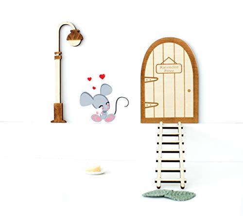 Kit ratoncito Pérez de Vinilo con Puerta + farola + Escalera mágicas de Madera para Pintar y Personalizar + Quesito + Felpudo + Platito