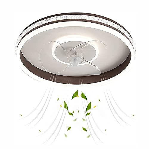 Lámpara de Techo Moderna de la atenuación de Tres Colores LED con Ventilador, Luces de Techo silenciosas de la habitación de Cristal de Cristal de Velocidad Ajustable, para Dormitorio, Sala de Estar