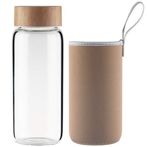 Ferexer Sports Botella de Agua de Cristal de Vidrio de Borosilicato con Tapa de Bambú y Funda de Neopreno 600 ml Dorado