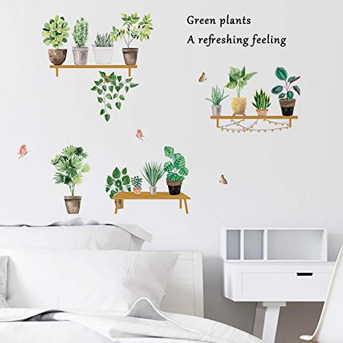 Plants Wall Decals Tropical Wall Stickers for Living Room, Green Potted Plants Wall Posters Succulent Bonsai Wall Decors Murals for Bedroom Study Room Office