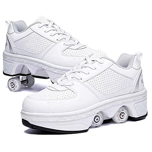 JZIYH Zapatos con Ruedas Zapatillas con Dos Ruedas para Niños Y Niña Skate Roller Zapatos con Ruedas Retráctil Skateboarding Deportes Al Aire Libre Zapatos