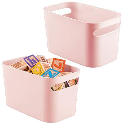 mDesign - Caja de plástico para juguetes con asas para dormitorio de niños/niños, sala de juegos, para guardar figuras de acción, ceras, bloques de construcción, manualidades,...