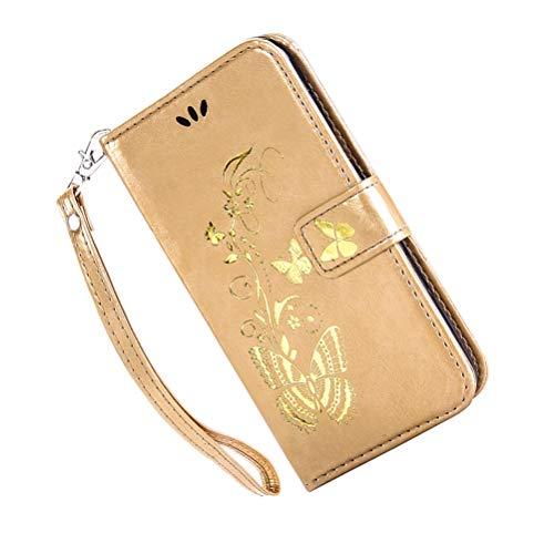 Bronzing Butterfly Case - Funda para teléfono Samsung Galaxy Note4 (Piel, con Correa de Piel sintética), Color Rosa, Compatible con Samsung Galaxy Note 4