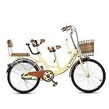 GWX Acero De Alto Carbono Biplaza En Tándem Padre Hijo De 22 Pulgadas Bicicleta Materno Infantil con Antideslizante Pedalea Adecuado para Viajar con Niños,Beige