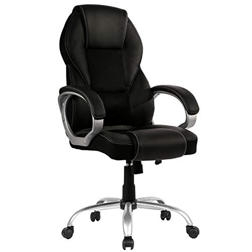 Home Office Chair Desk Chair Ergonomic Computer Chair with Arms Lumbar Support Headrest Modern Task Adjustable Swivel High Back Mesh Wide Seat Comfortable Executive Chair for Adults Women Men,Black