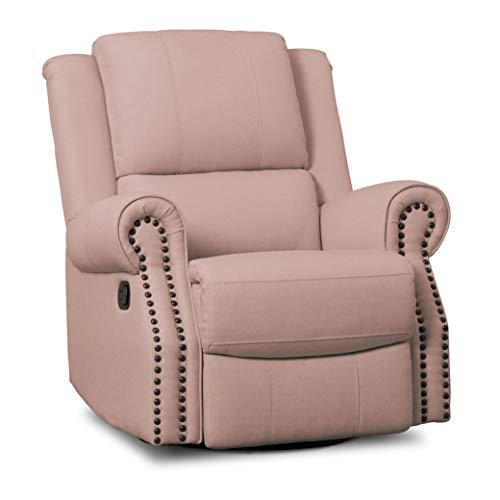 Delta Children Dylan Nursery Recliner Glider Swivel Chair, Blush