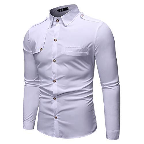 X&Armanis Camisa Casual de Hombre, Camisa con Costuras de charretera en Tejido de poliéster Camisa de Manga Larga con Solapa (otoño),2,L
