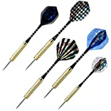 GYZX Dards Steel Dart Flechas con Punta de Metal Vuelos Darth Darth con Brass Barrel & ALUMISUM Ejes Darts Set para Profesionales o Principiantes