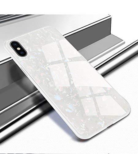 Ostop Glitzer Muschel Muster Hülle für iPhone Xr,Glänzend Ultra Dünn Handyhülle Glatt Gehärtetes Glas Zurück Hartschale Weich TPU Stoßstange Fall Stoßfest Ganzkörper Schutzhülle-Weiß