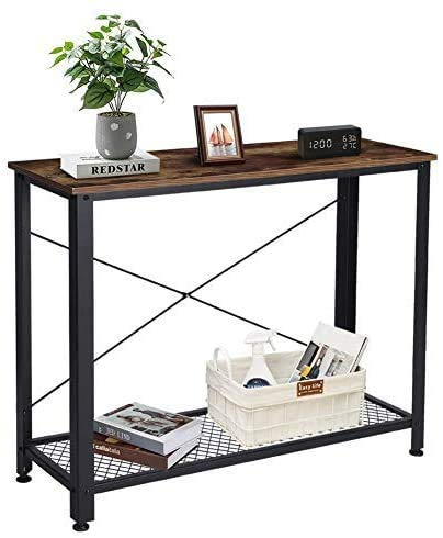 Industrial Console Table, Console Table Vintage Rustic Brown Entryway Table with Fixed Rod Sturdy Metal Frame Sofa Table Office Table for Hallway Entryway Living Room Office, 40 x 13.8 x 31.5 inch