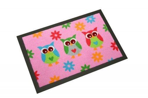 Witzig Paillasson avec inscription en allemand « Owl » Rose/motif chouette Dimensions : 40 x 60 cm