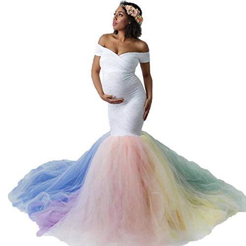 HIHCBF Rainbow Tulle Maternity Dress for Photoshoot Baby Shower Wedding Off-Shoulder Sweetheart Lace Mermaid Gown w/Train