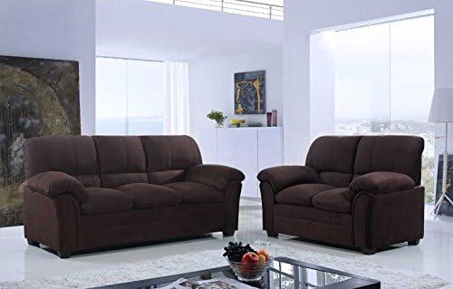 Best GTU Furniture Tan/Hazel/Chocolate Chenille Sofa & Love Seat Set, 2Pc Living Room Set (Chocolate)