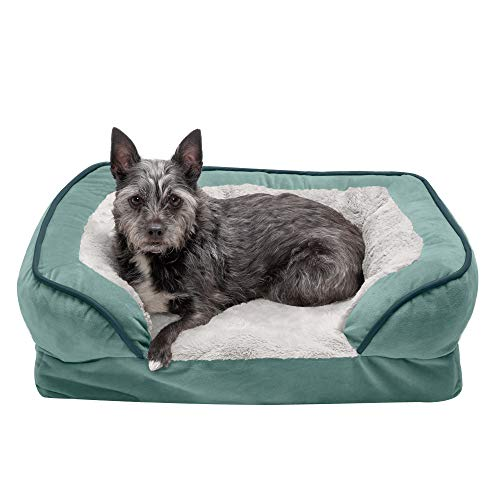 Furhaven Pet Dog Bed - Orthopedic Plush Velvet Waves Perfect Comfort Traditional Sofa-Style Living Room Couch Pet Bed with Removable Cover for Dogs and Cats, Celadon Green, Small
