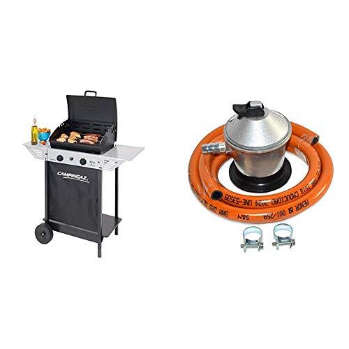 Campingaz Xpert 100 L Barbacoa gas, parrilla gas con dos quemadores compactos + S&M 321771 Regulador de Gas Butano Goma M + 2 Abraz, Gris/Naranja, 1,5 metros de tubo