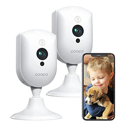 Überwachungskamera Innen, Conico WLAN IP Kamera mit 1080p-Auflösung, 2 Wege Audio, 10m Nachtsicht, Bewegungsmelder, WiFi Hundekamera Kompatibel mit Alexa für Haustier Baby Ältere
