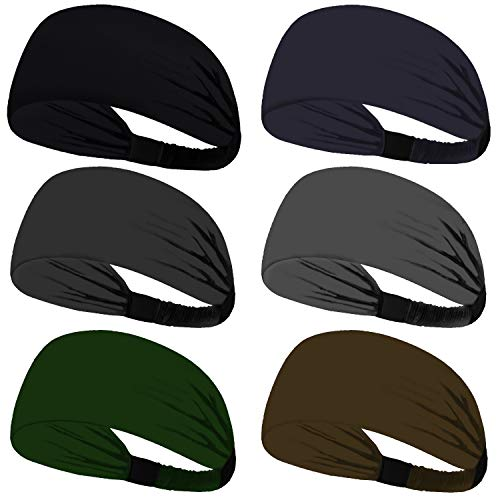 Obacle Headbands for Men Women Sweat bands Headbands Non Slip Thin Lightweight Breatheable Durable Head Band Outdoor Sports Workout Yoga Gym Running Jogging (Elastic Band, 6 Pack Multi Color Style 05)