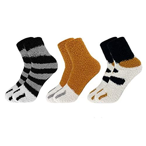 CheChury Calcetines de Invierno Calientes de Piso Lindos de Navidad para Mujer Vellón de Coral Abrigados 3 Pares Calcetines Termicos Cálidos y Esponjosos para Mujeres Calcetines de Felpa Divertidos