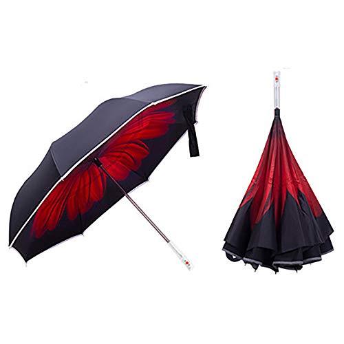 SSZZ Windundurchlässiger Faltreversschirm Doppelter Beleuchteter Gerader Regenschirm LED-Autosicherheitswarnung Sonniger Regenschirm,Rot