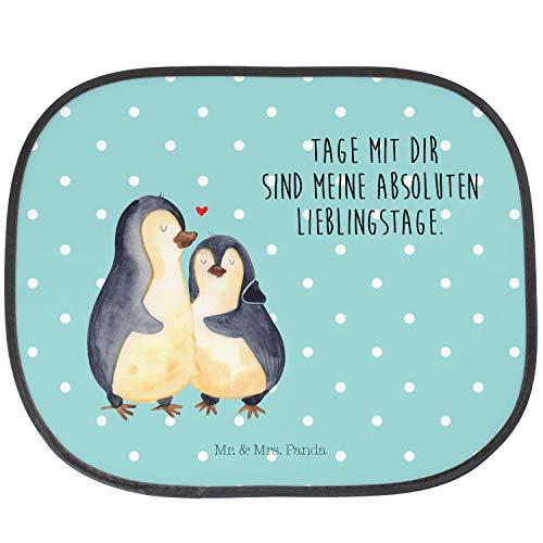 Mr. & Mrs. Panda Kinder, Familie, Auto Sonnenschutz Pinguin umarmend mit Spruch - Farbe Türkis Pastell