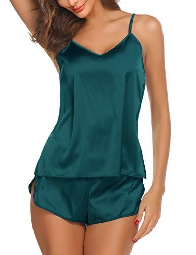 Ekouaer Sleepwear Womens Sexy Lingerie Satin Pajamas Cami Shorts Set Nightwear,Green,Small