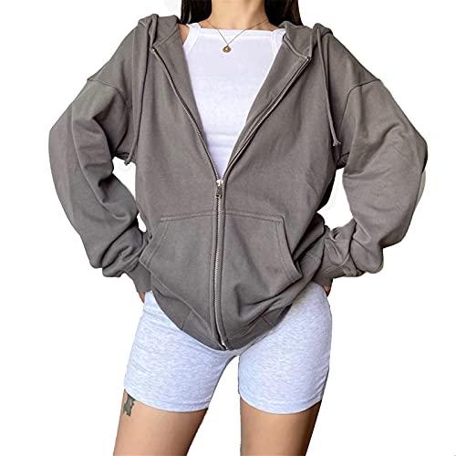 Damen Casual Oversized Sweatshirt Casual Reißverschluss Hoodie Kordelzug Sport Mantel mit Taschen Langarm Wasserfallkragen Y2K Streetwear Jacke Gr. 38, grau