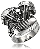 WDBAYXH Locomotive Wind Ring Men's Motorcycle Skull Ring Mens Ring Steampunk Fashion Gothic Steel Color Motorcycle Engine Locomotive Ring Jewelry Gift (Size : 13)