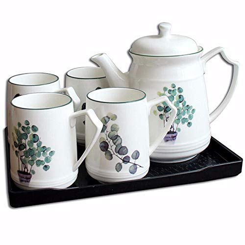 Porcelain Teapot and Tea/coffee Cups, High Temperature Resistant Green Plant Pattern Teacup Set - 240 Ml Cups and 1400ml Pot with Pallet for Afternoon Tea Party
