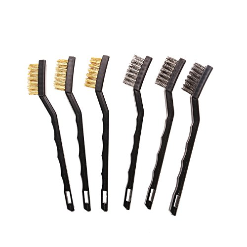 UEETEK 6pcs Mini cepillo de alambre para la limpieza de la escoria y el óxido de la soldadura (3 * Stainless Steel + 3 * Brass)