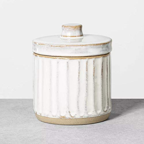 Hearth And Hand With Magnolia Stoneware Bath Canister Reactive Glaze Light Sour Cream