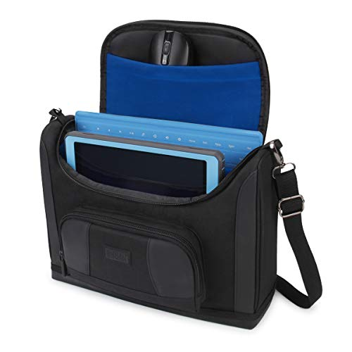 USA GEAR Compact Tablet Messenger Bag Compatible with Lenovo Smart Tab 10.1, Galaxy Tab A 10.1, Galaxy Tab S5e 10.5 - Durable Exterior, Shoulder Strap, Padded Adjustable Interior Dividers (Blue)