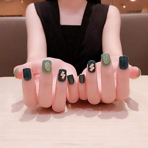 QULIN 24 piezas de uñas postizas de color verde oscuro claro con pegamento Decoración colgante 3D Ropa de verano prensa en uñas para gilr DIY uñas postizas con diseños