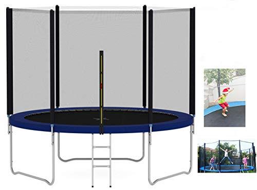 Erosddb Trampoline 10 pies de trampolín al Aire Libre con Escalera de Primavera para niños,Blue