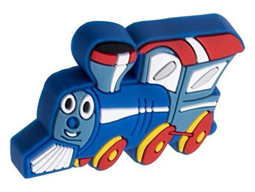 Gedotec Gummi-Griff Kinder-Möbelknopf Motiv Möbelgriff Kinderzimmer - Lokomotive | Türknopf Gummi Speichelecht | Schubladen-Knopf elastisch | Türgriff Schranktür | 1 Stück - Kindergriff für Möbel