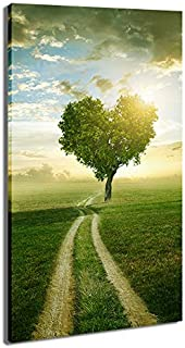 DVQ ART Green Heart Tree Painting Modern Landscape Canvas Wall Art Decor Framed Poster Prints for Dining & Living Room, Kitchen, Bathroom, Bedroom & Office 1 Piece (16x32Inch)