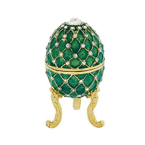 Juliana Mujer Verde Claro Treasured Trinket faberge-style Oval Huevo Caja.