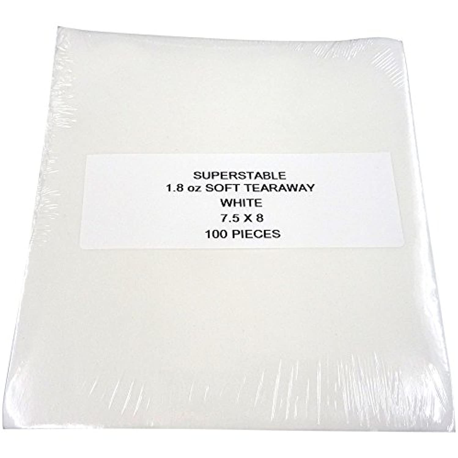 Tear Away Stabilizer White 1.8 oz 100 Precut Sheets 7.5 inch x 8 inch. SuperStable Embroidery Stabilizer Backing