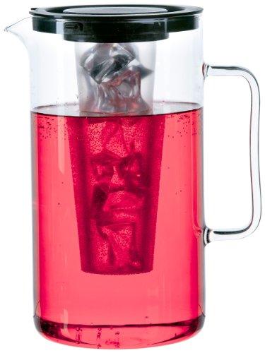Bohemia Cristal 093 006 057 SIMAX Krug ca. 2,5 ltr. aus hitzebeständigem Borosilikatglas mit Eiswürfeleinsatz aus Kunststoff und Kunststoffdeckel schwarz