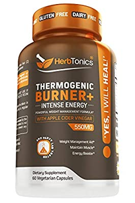 Thermogenic Fat Burner with Apple Cider Vinegar Capsules Plus Green Tea Extract, Acetyl L-Carnitine for Women and Men - 60 Natural Veggie Diet Pills