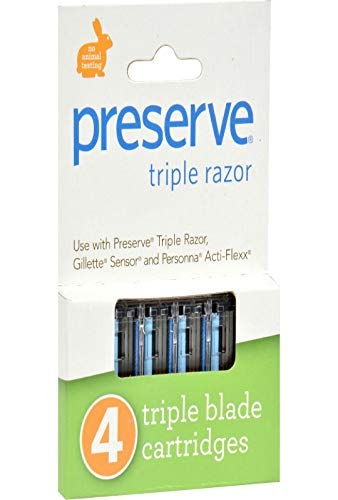Preserve - Recharge pour rasoir triple lame Femme &Homme - Set de 4 recharges