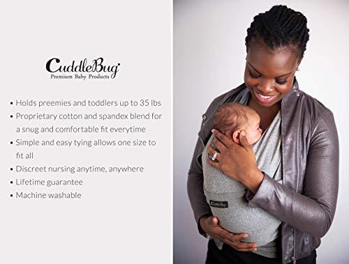 CuddleBug Fular Portabebés – Canguro para Bebés Recién Nacidos y Niños hasta 16 Kg – Manos libres - Porta Bebés de Tela Suave y Elástico – Ideal como Regalo de Babyshower – Talla Única - (Gris)