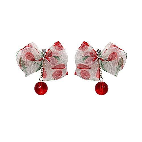 SALAN Pendientes De Gota De Bola De Gasa Rojo Cereza para Mujer Nueva Joyería Regalos Elegantes