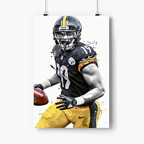 Kooiico Juju Smith Schuster Poster Artwork - No Frame 12x18 Inch - Football Poster, Custom Poster, Art Print Gift for New Years, Valentines Day, Memorial Day, dad, Grandfather N1820