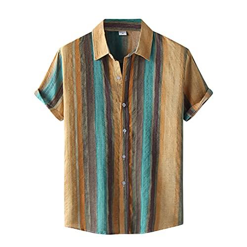 Xmiral Camicia Hawaiana Manica Corta Camicia Camicetta Uomo Casual Stampa a Colori Bottone Colletto rovesciato (3XL,23Cachi)