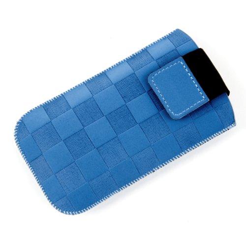 NFE² Etui offen - blau - mit Ausziehlasche & flacher Gürtelschlaufe für tecmobile T150